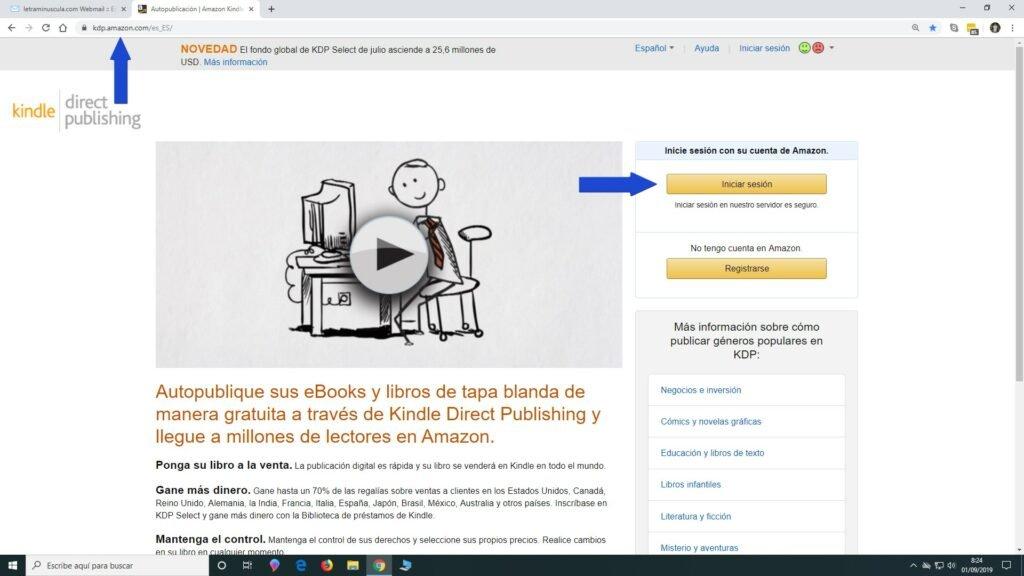 Entrar la cuenta de Amazon KDP