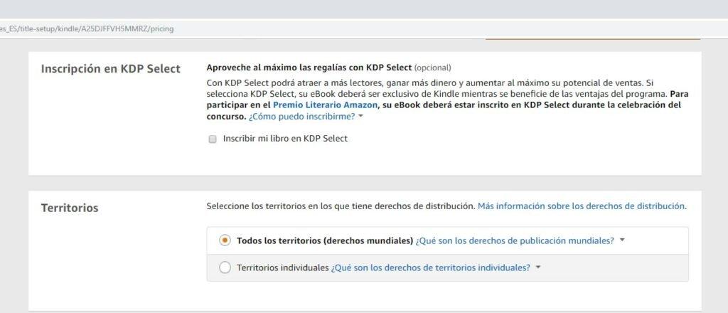 Inscripción y territorios en Amazon KDP