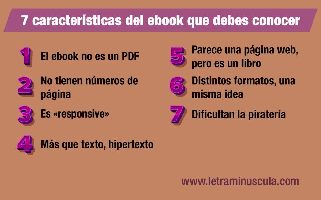 Infografía 7 características del ebook que debes conocer